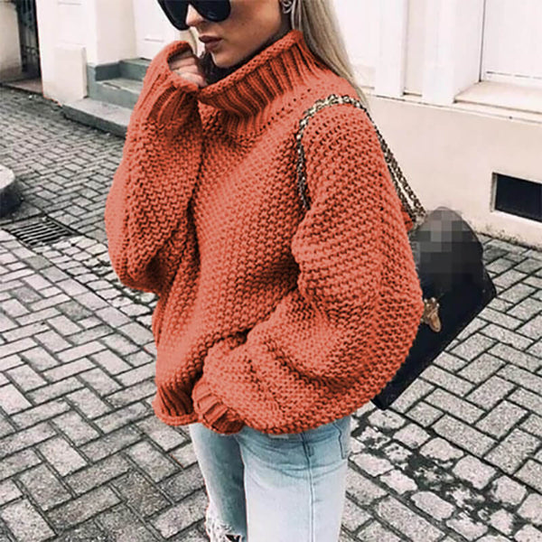 Turtleneck Balloon Sleeve Crocheted Chunky Sweater