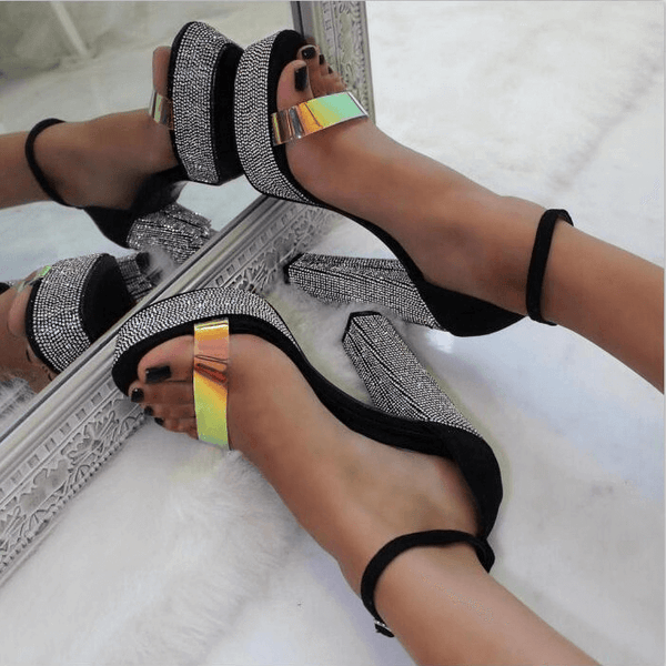 Platform Rhinestone Buckle Chunky High Heel Sandals
