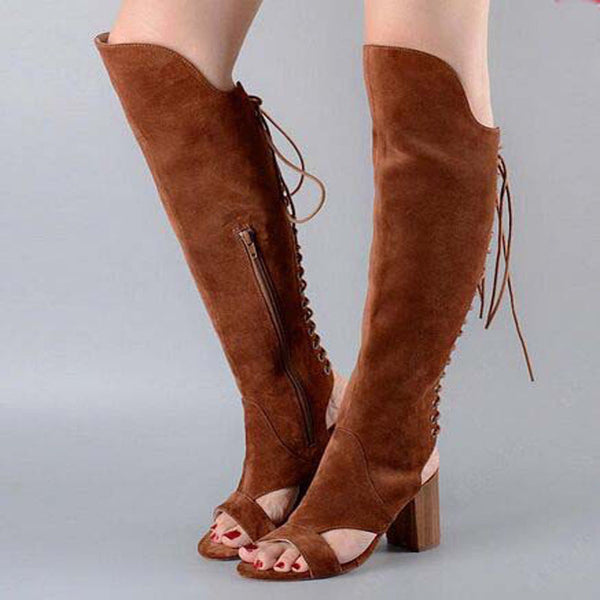 Suede Strap Open Toe Chunky Heel Knee High Sandals