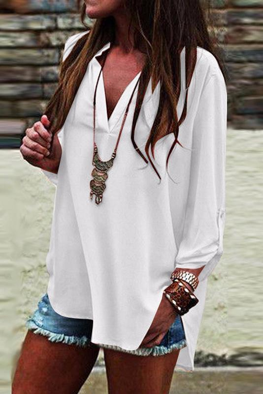 Deep V-neck Pure Color Long Sleeve Loose T-shirt