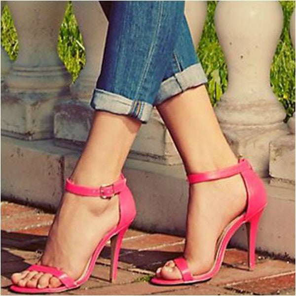 Simple Buckle Open Toe High Heel Sandals