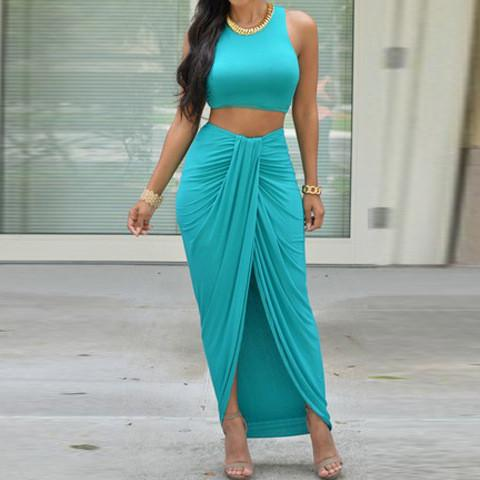 Bandage Crop Top with Irregular Long Skirt Club Dress Set - Meet Yours Fashion - 1