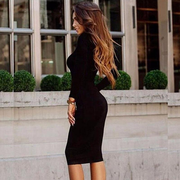OL Long Sleeve Bodycon Midi Dress