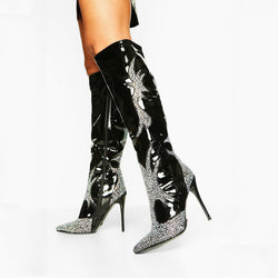 Black Rhinestone Knee High High Heel Boots