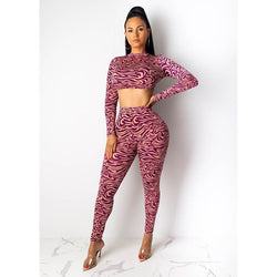 Print Crop Top High Waist Skinny Pants Set
