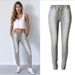 Leisure Gray Elastic Jogging Harlan Draw String Slacks Pants