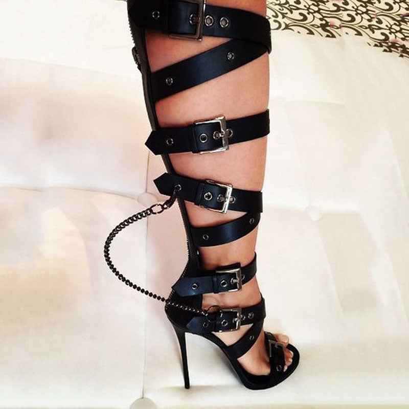 Black Buckles Cutout Knee Length High Heel Sandals