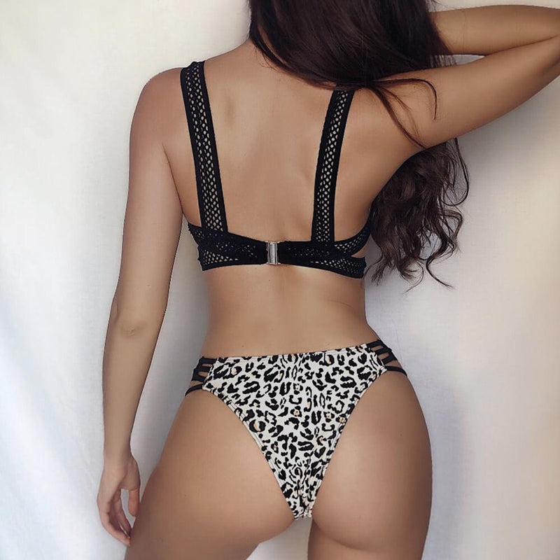 Fashion Leopard Cutout Padded Top Thong Bottom Bikinis