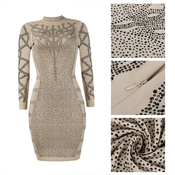 Mock Neck Shinestone Bodycon Dress