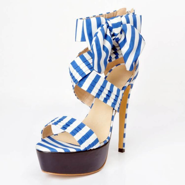Blue Gladiators Platform Lace Up Sandals