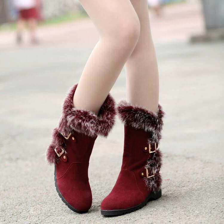 Fur Low Heel Suede Wedge Calf Boots