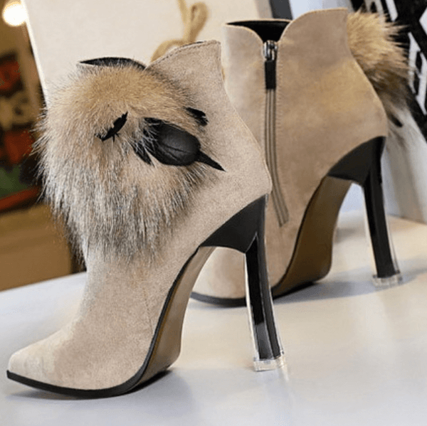Suede Fur Point Toe Zipper High Heel Ankle Boots