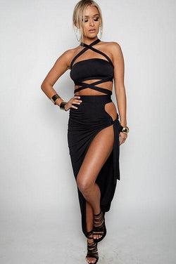 Strapless Bandage Crop Top with Long Split Skirt Two Pieces Dress Set