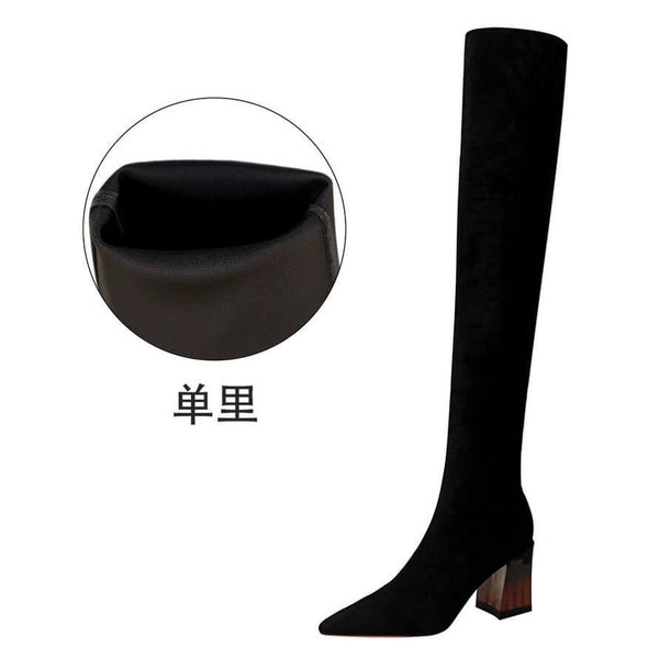 Black Suede Point Toe Chunky Heel Over Knee Boots