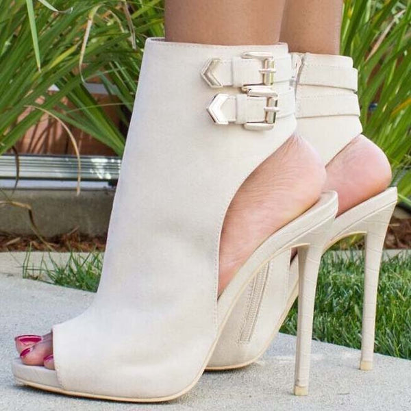 High Heel Buckle Peep Toe Sandals