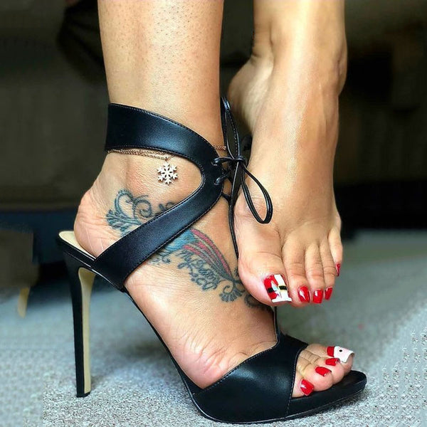 Black Leather Open Toe Strap High Heel Sandals