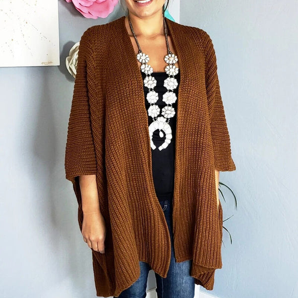3/4 Sleeve Pure Color Knit Cardigan Sweater
