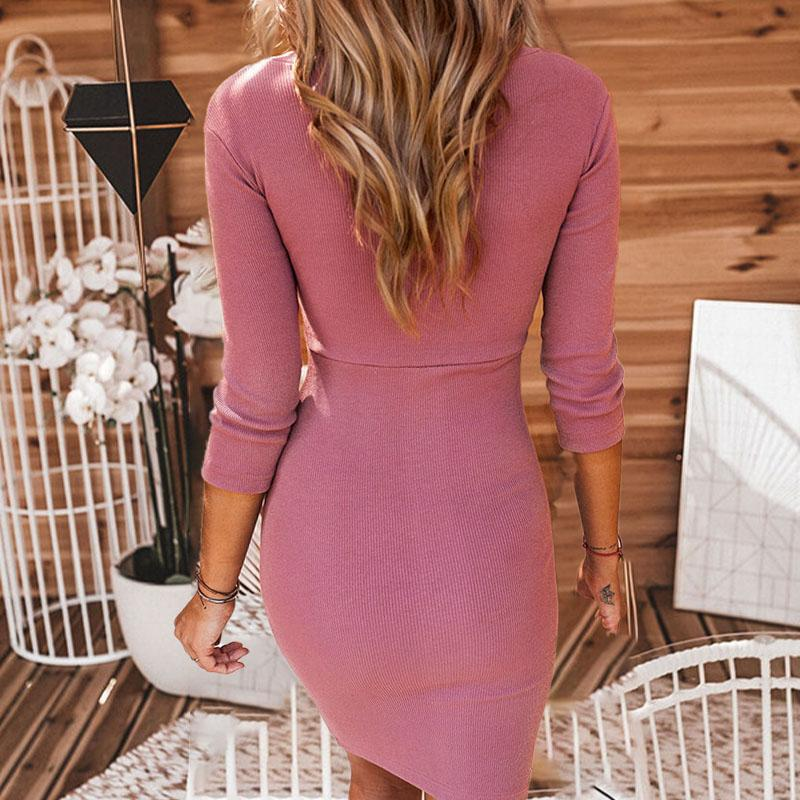 Half Sleeve Bodycon Short Dress