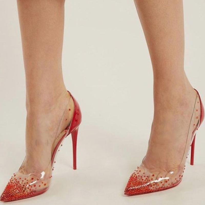 Rhinestone Pointed Toe Leather Clear Wedding Pumps