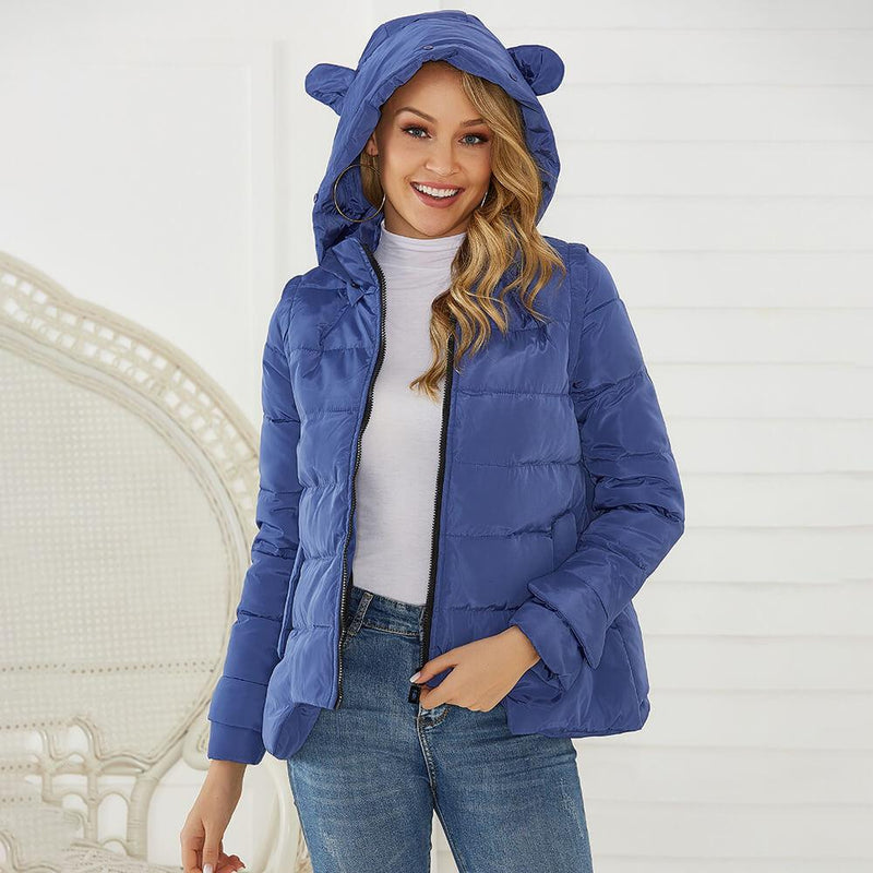 Hooded Mock Neck Puffer Jacket