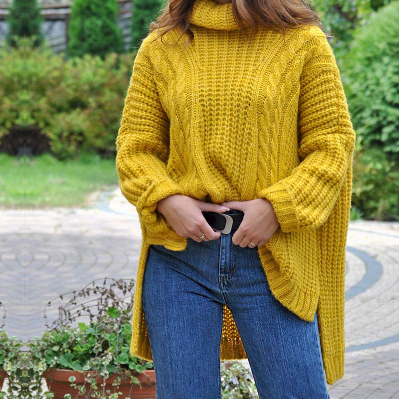 Oversized Turtleneck Low High Cable Knitted Sweater