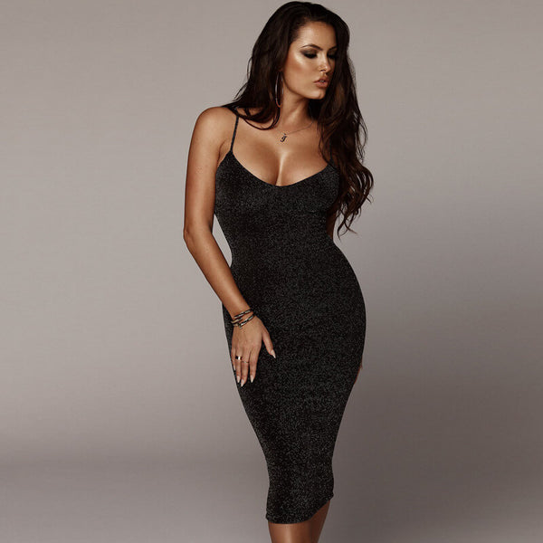 Black Sling Knitted Midi Dress