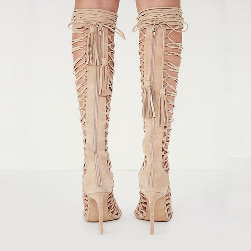Suede Cutout Strap High Heel Knee High Sandals