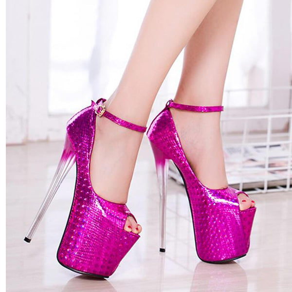 Summer Peep Toe PU Platform Buckle High Heels