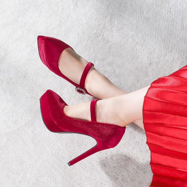Wine Red Platform Suede Buckle High Heels