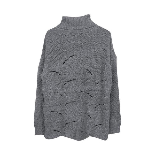 Hollow Out Turtleneck Pure Color Knit Sweater