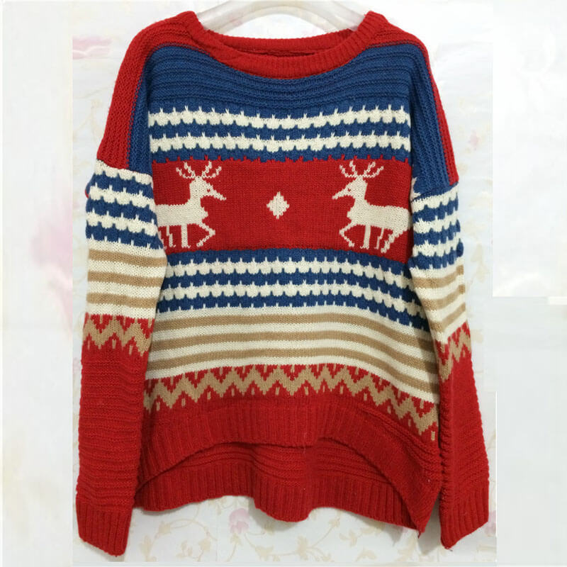 Reindeer Colorblock Jacquard Christmas Sweater?