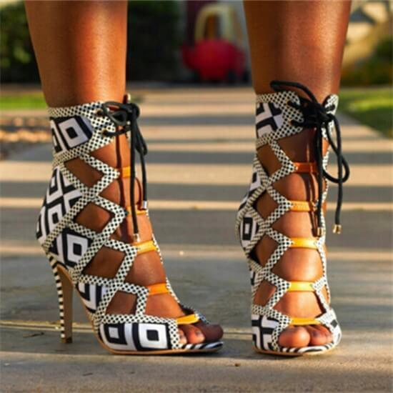 Gladiators Strap Heel Lace Up Sandals