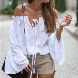 Off-Shoulder Lotus Sleeve Lace Up Loose Blouse