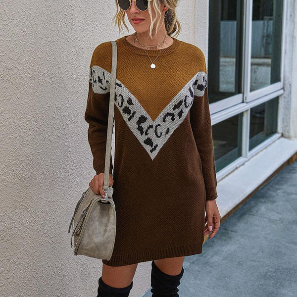 OL Colorblock Short Sweater Dress