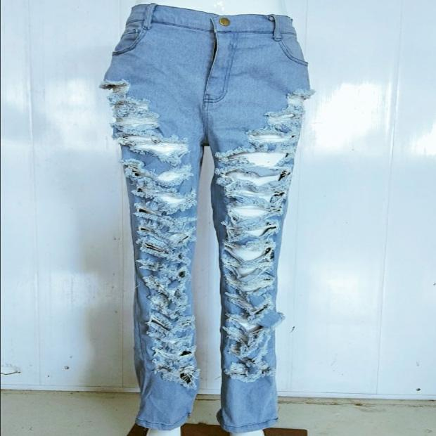 High Waist Denim Ripped Zipper Casual Pants