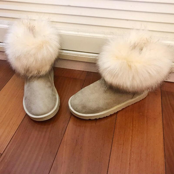 Fur Winter Round Toe Fashion Flat Boots