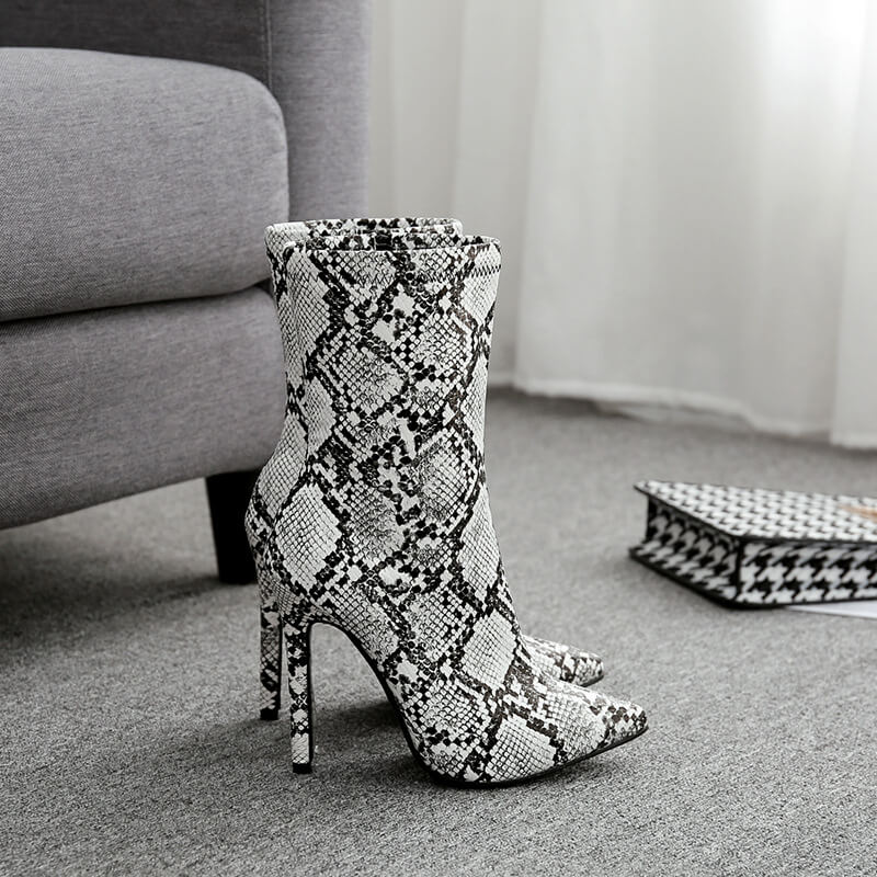 High Heel Snakeskin Pointed Toe Calf Boots