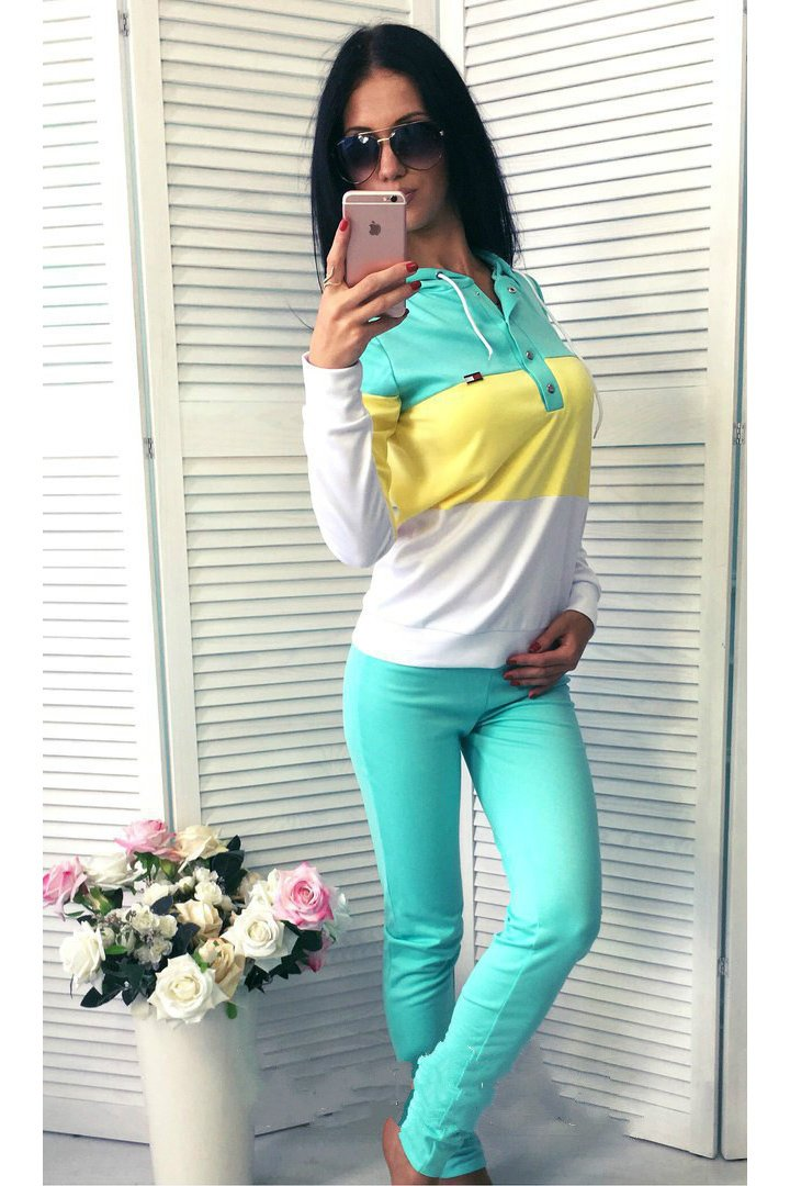 Pure Color Splicing Blouse with Skinny Pants Two Pieces Set
