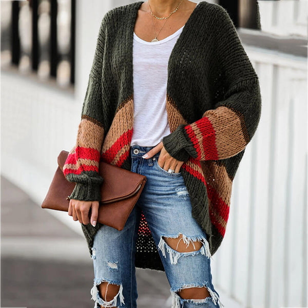 Loose Colorblock Thick Sweater Cardigan