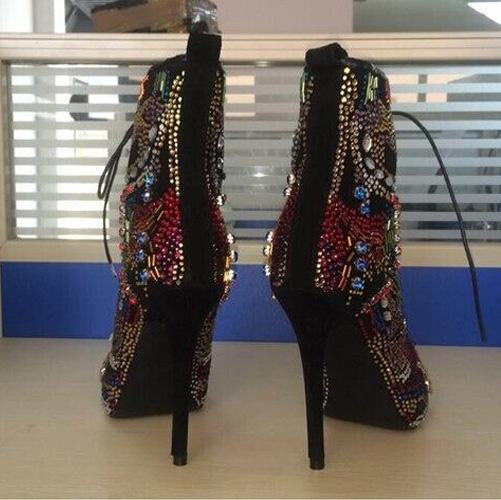 Rhinestone Peep Toe Lace Up High Heel Ankle Boots