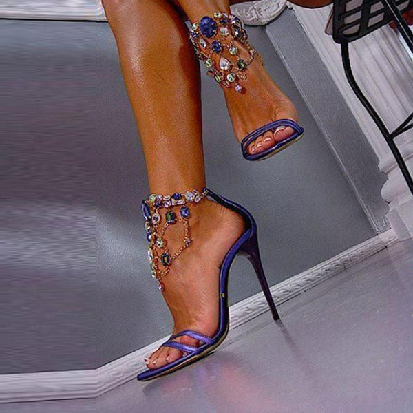 Luxurious Purple Rhinestone Ankle Wrap Heel Sandals with Plus Size - Meet Yours Fashion - 1