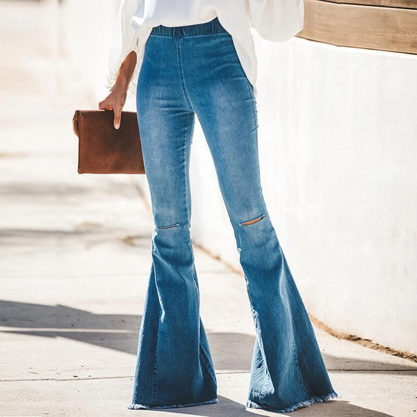 Sexy Flare Blue Elastic Waist Ripped Denim Pants
