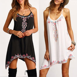 Sexy Spaghetti Strap Print Loose Short Dress - Oh Yours Fashion - 3
