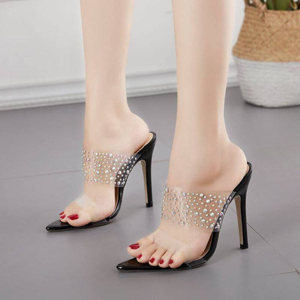 High Heel Slip-On Rhinestone Cutout Sandals