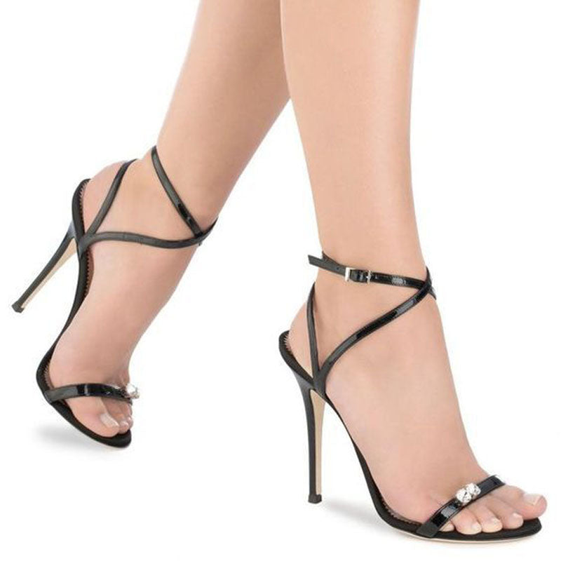 Simple Rhinestone Buckle Open Toe High Heel Sandals