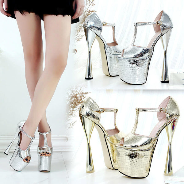 Party Peep Toe PU Platform Buckle High Heels