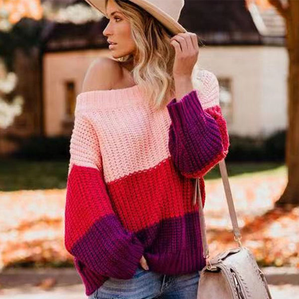 Off Shoulder Loose Colorblock Knit Sweater