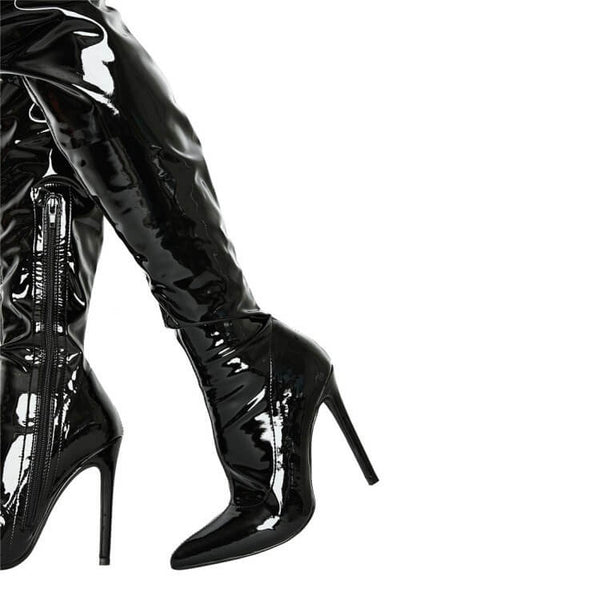 Patent Leather Point Toe High Heel Over Knee Boots