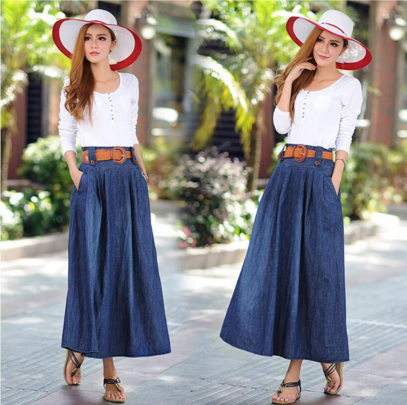 Denim Blue Elastic Waist Pleated Long Skirt With Belt