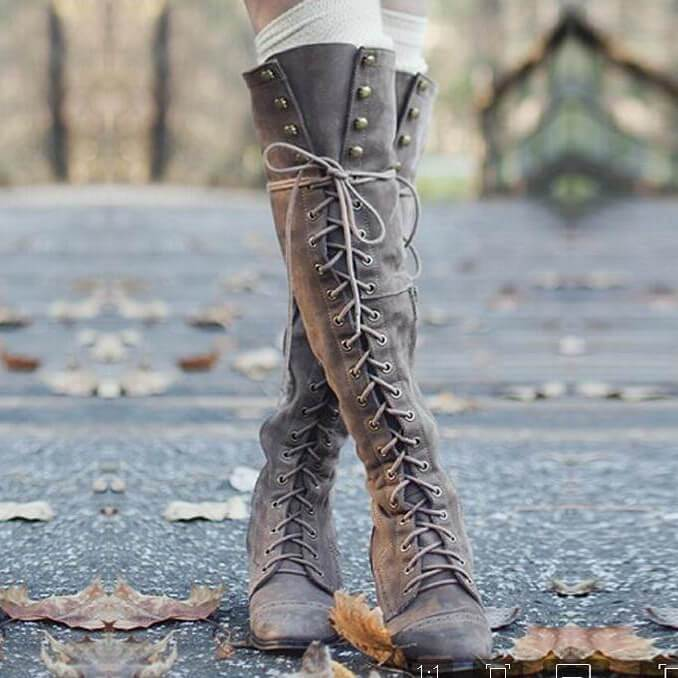 Retro Cross Strap Flat Lace Up Knee High Boots